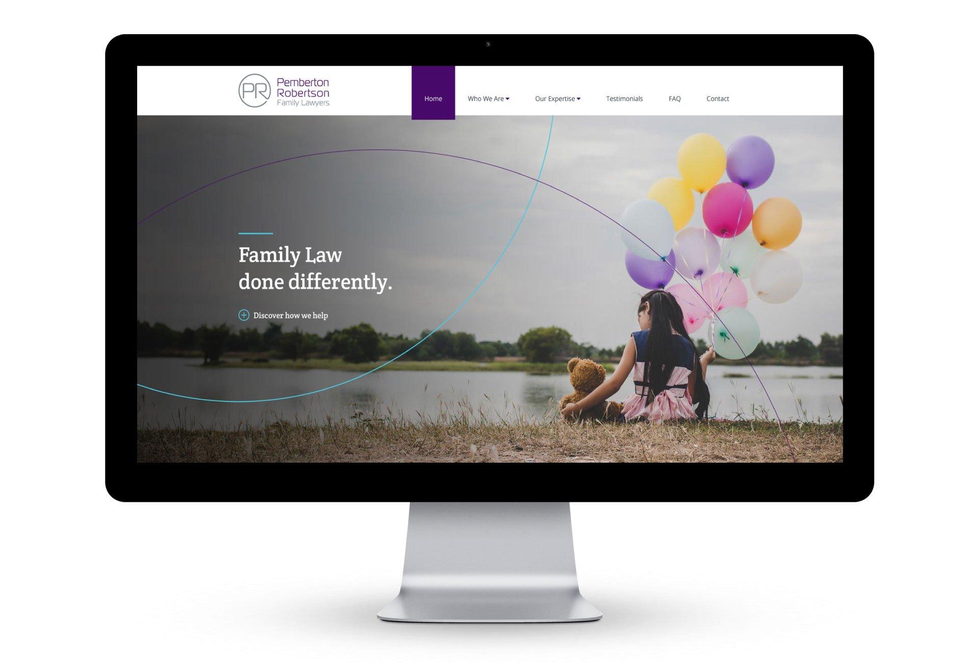 web design desktop homepage family lawyers perth