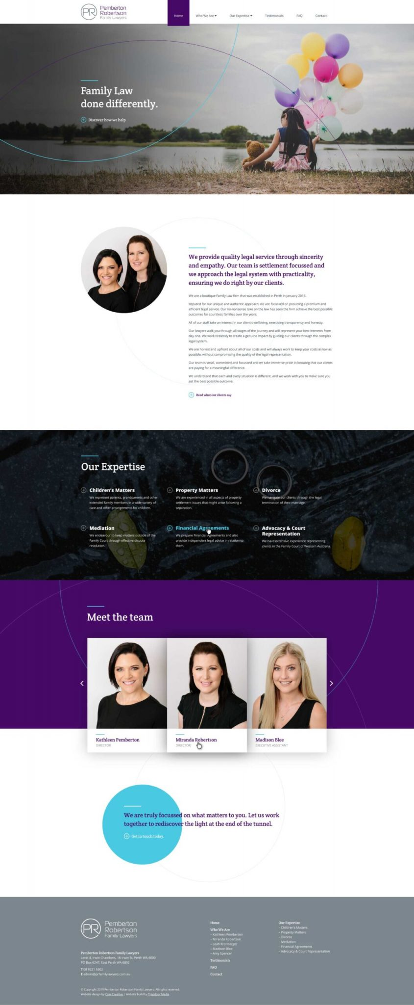 web design homepage family lawyers perth
